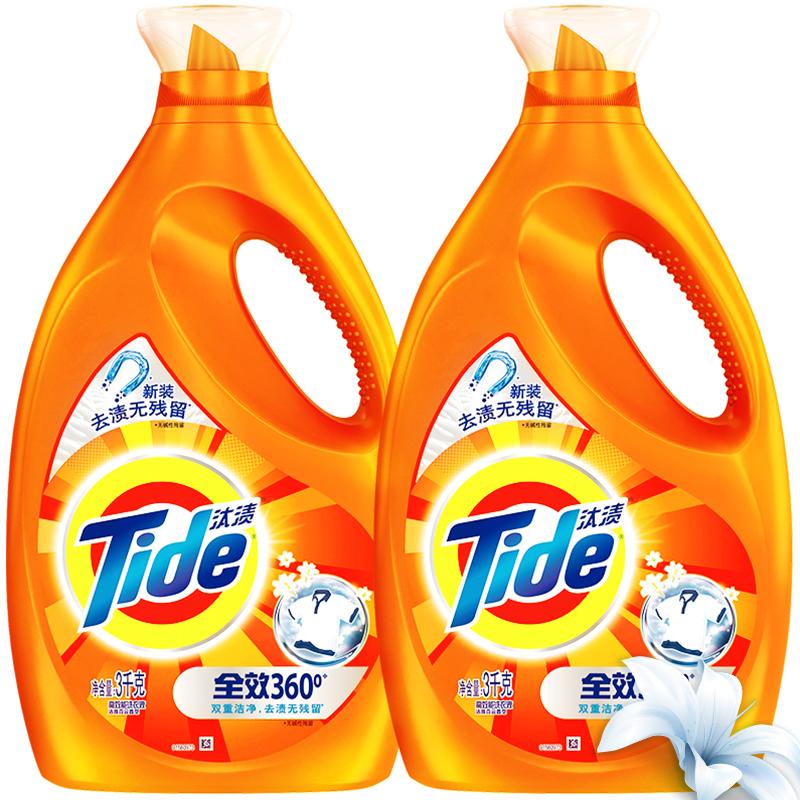 汰渍 全效360度洗衣液(洁雅百合)3kg*2/瓶