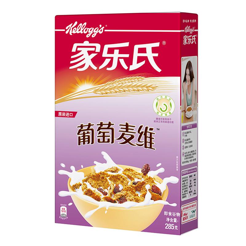 韩国进口 家乐氏(Kellogg's)葡萄麦维 高纤麦片 进口即食冲饮 营养谷物早餐285g