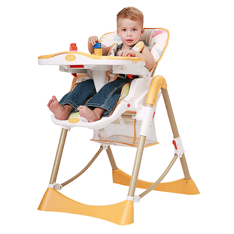 爱音(Aing)儿童餐椅 欧式多功能婴儿餐椅四合一宝宝餐椅可折叠便携C002(C002s) 橘色(适合0~4岁)