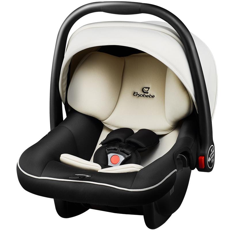 德國怡戈(Ekobebe) 嬰兒提籃式兒童安全座椅EKO-007 適合0-15個月新生兒寶寶汽車車載手提籃 米黑色