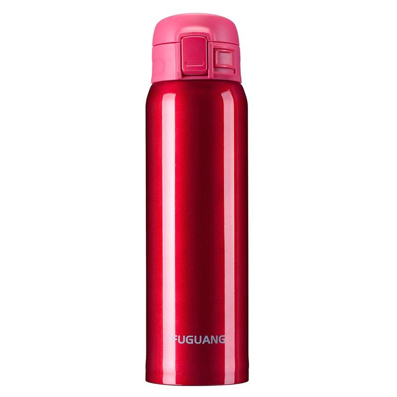富光 不锈钢真空保温杯 男女士户外保温水杯泡茶杯 商务弹盖便携水杯子 480ml 红色(WFZ1013-480)