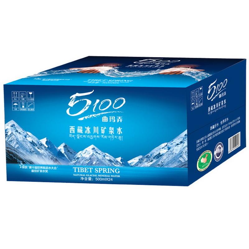 5100西藏冰川矿泉水500ml*24瓶 家庭装