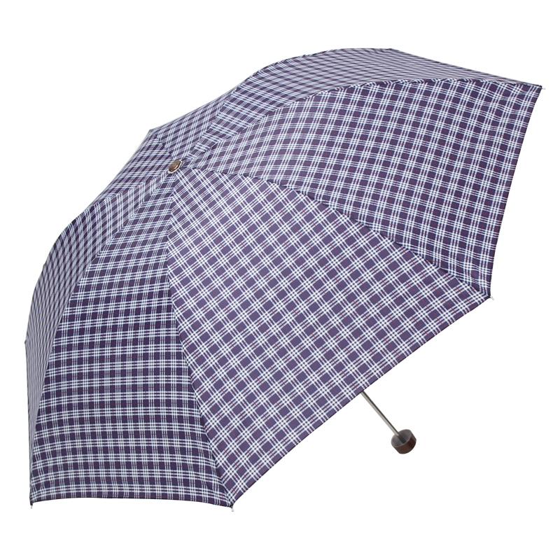 天堂伞 苏格兰风格格子三折钢伞晴雨伞 F藏青 339S