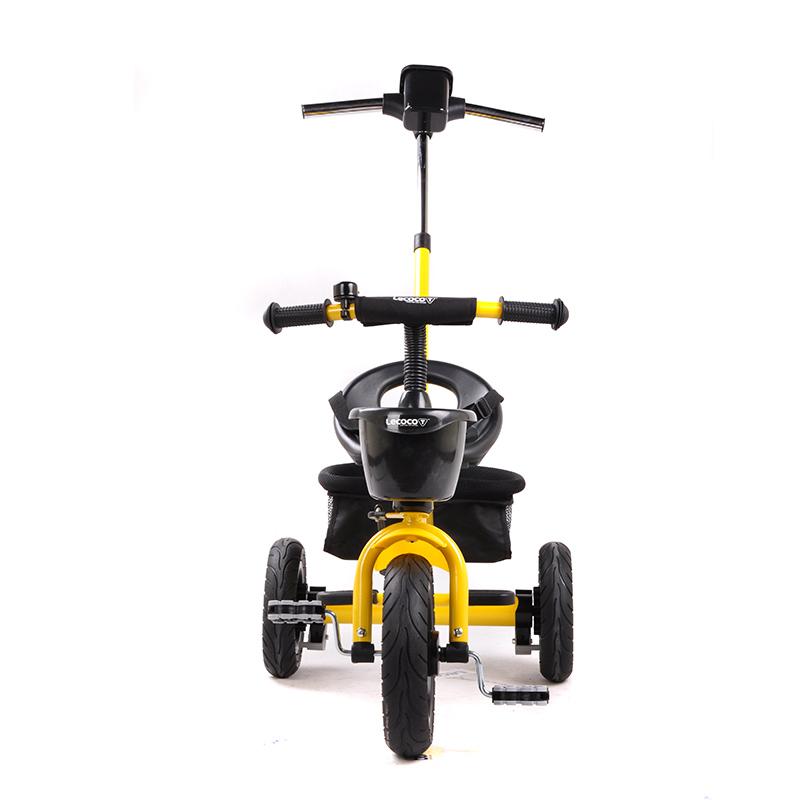 乐卡(Lecoco)儿童三轮车 三轮宝宝推车 多功能婴儿脚踏车 尼诺二代免充气钛空轮 酷炫黄