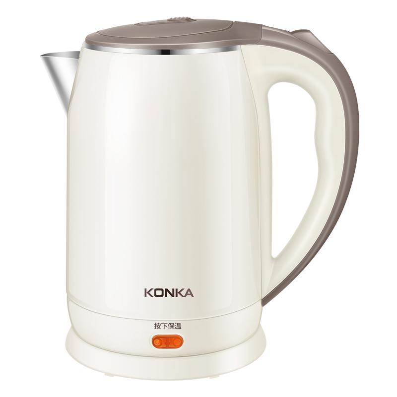 康佳(KONKA)电水壶PTC保温电热水壶2L大容量双层防烫烧水壶304不锈钢一键弹盖热水壶 KEK-15DG2030
