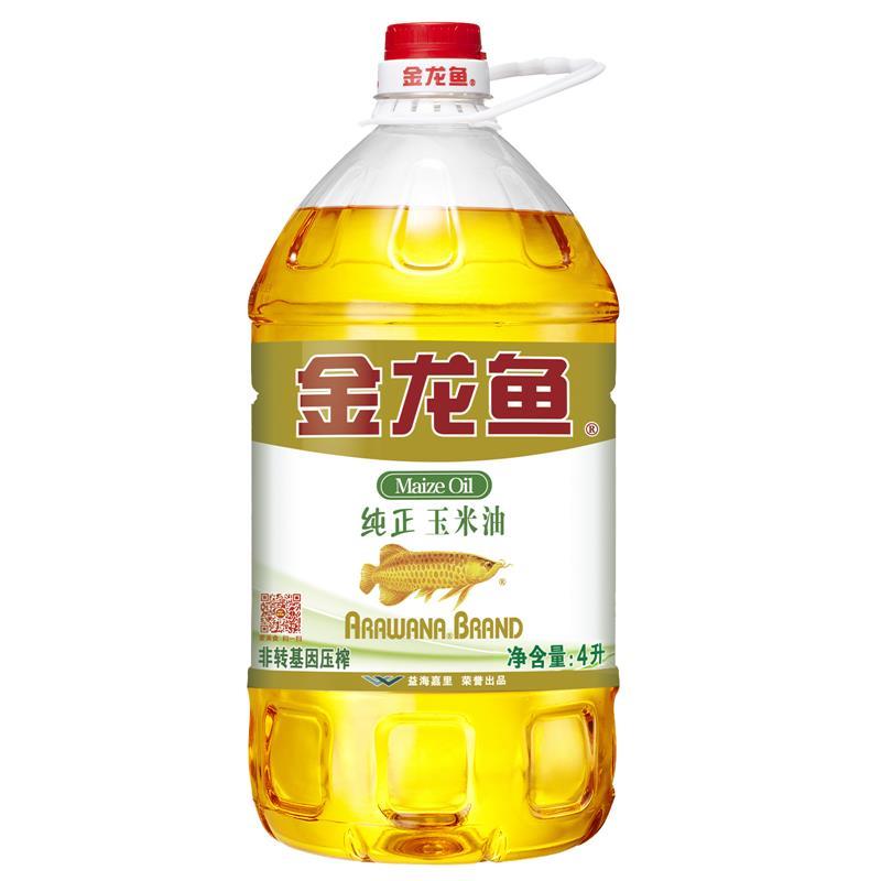 金龙鱼 食用油 非转基因 压榨 一级 纯正玉米油4L