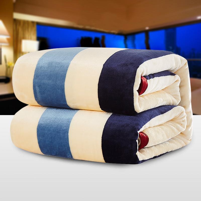 百富帝(byford)毛毯加厚珊瑚绒毯子秋冬午睡空调毯毛巾被法兰绒盖毯儿童毯1*1.4米 条纹