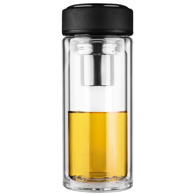 万象(WANXIANG)V21 475ML双层耐热创意玻璃杯 商务男女士带滤网水杯 时尚便携泡茶杯 冷酷黑