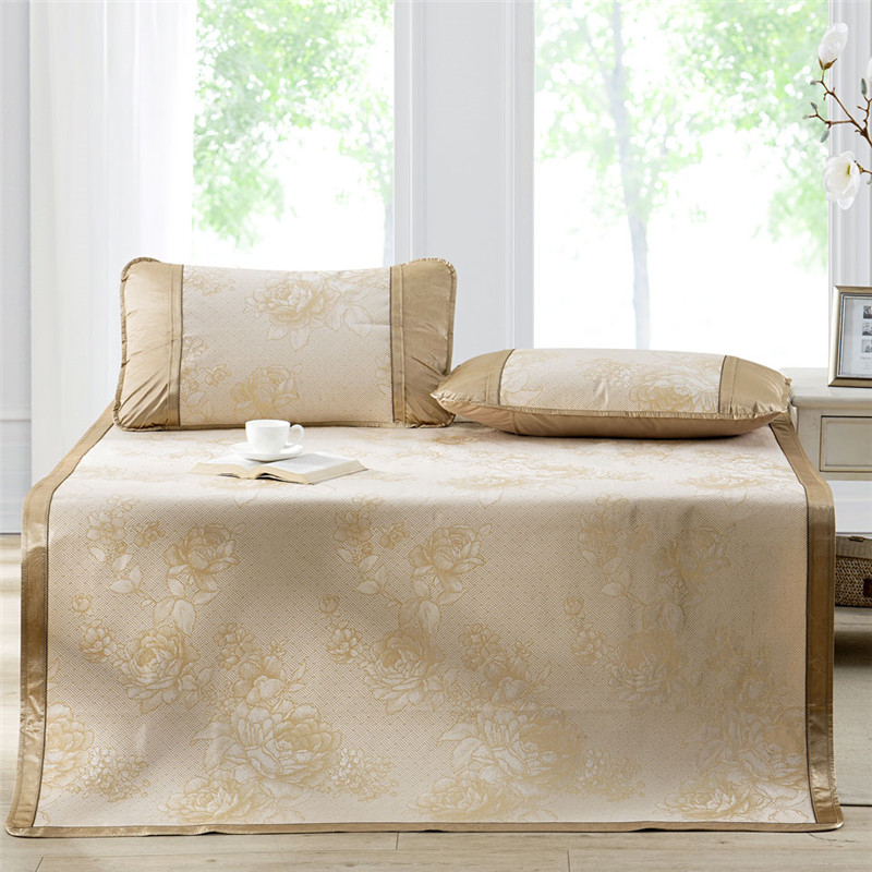 多喜爱(Dohia)凉席 冰丝空调凉席 三件套折叠席子 花团锦簇 金色 1.8米床 180*200cm