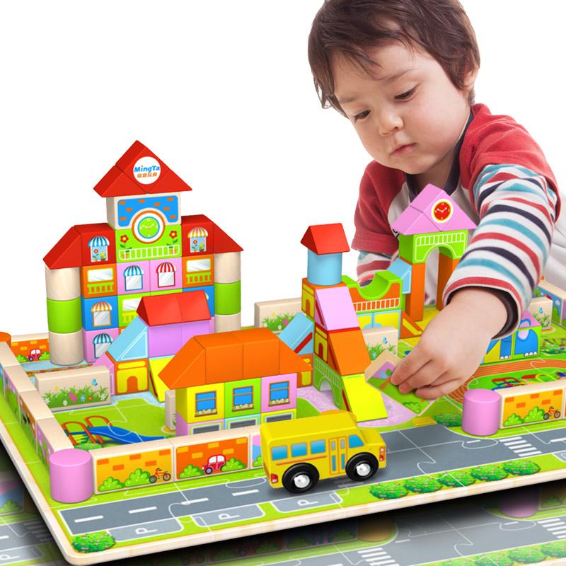 铭塔(MING TA)128粒幼儿园积木 木制质早教益智婴幼儿童益智智力玩具积木玩具
