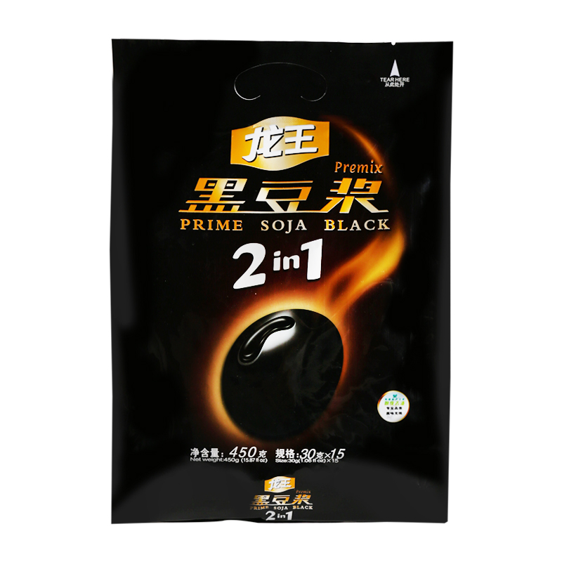 龙王 纯黑豆豆浆粉 豆粉 无添加蔗糖营养早餐 450克(30g*15小条)
