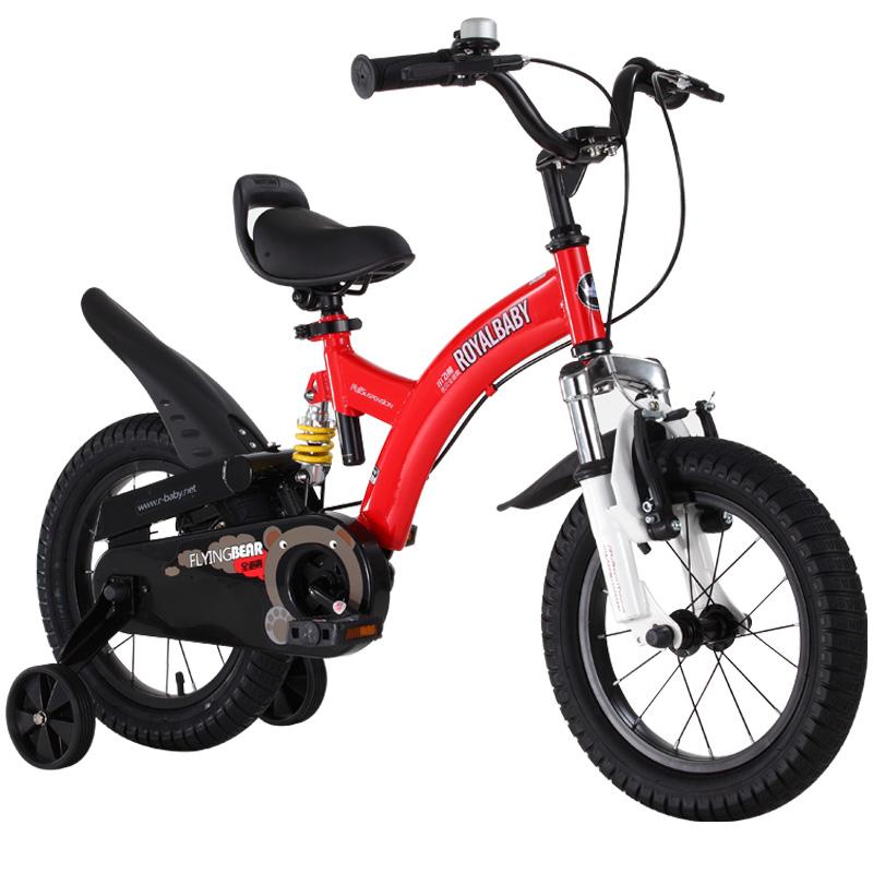 優貝(RoyalBaby)兒童自行車 單車男女小孩童車 避震型寶寶腳踏車山地車3歲-9歲 小飛熊 16寸 紅色