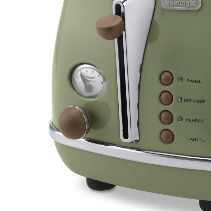 德龙(Delonghi)面包机 家用多士炉 吐司机 烤面包机 不锈钢机身 防尘盖 CTO2003 橄榄绿
