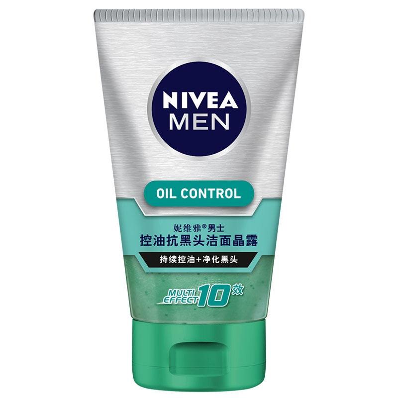 妮维雅(NIVEA)男士控油抗黑头洁面晶露100g(洗面奶 护肤化妆品)