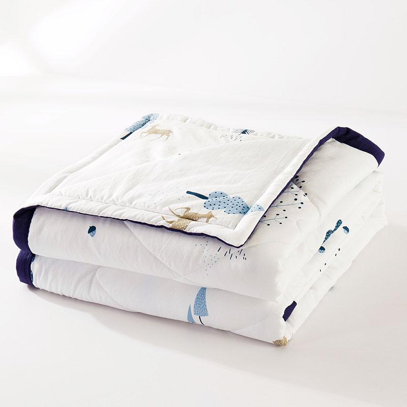 迎馨 被子家纺 水洗棉空调被夏被单人夏凉被毛巾被夏天薄被芯 150*200cm 五彩树