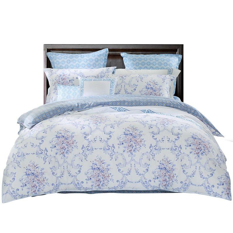 水星家纺 床上四件套纯棉 全棉斜纹印花被套床单被罩床品套件 苏拉娜菲籠 加大双人1.8米床