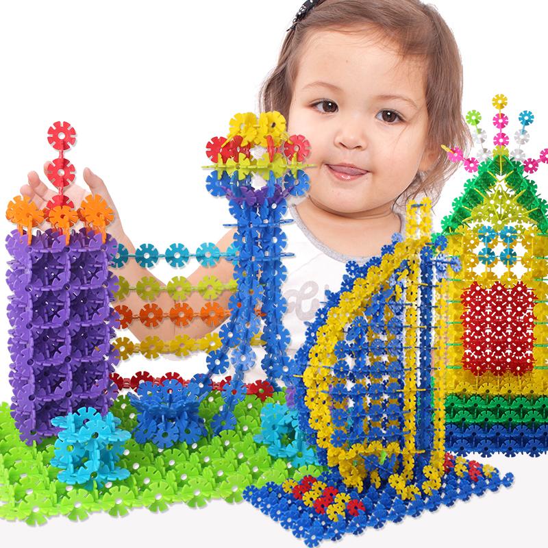 銘塔(MING TA)1000片雪花片 中號加厚12色塑料積木兒童益智玩具拼插拼裝寶寶教具桶裝