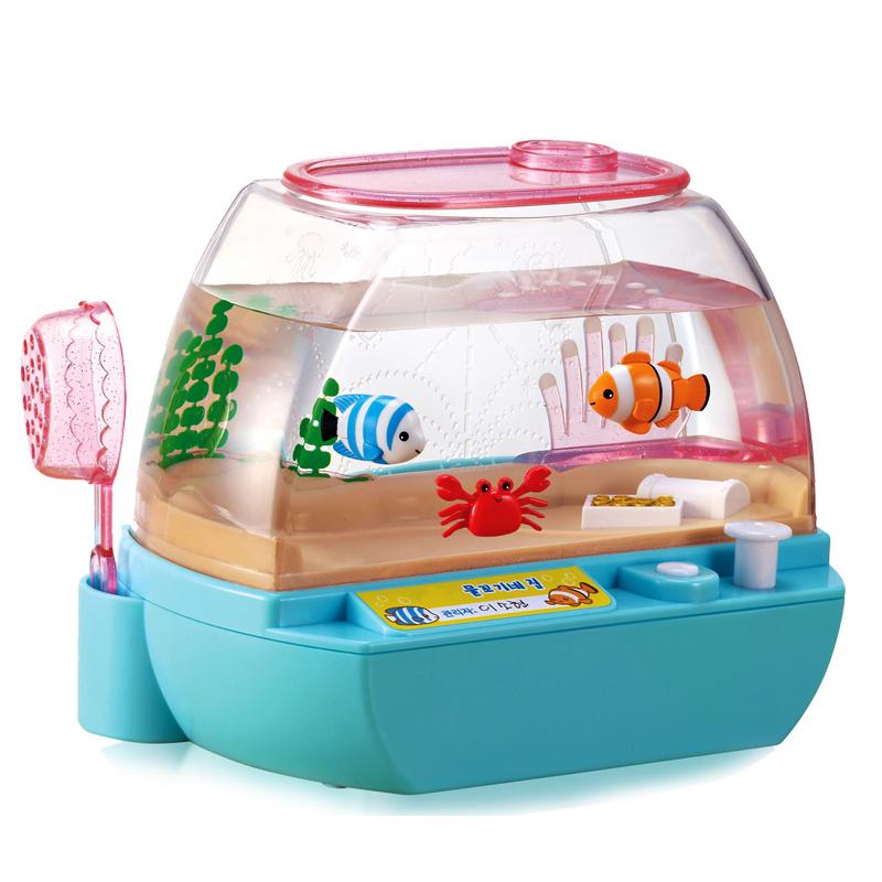 mimiworld 韩国玩具 欢乐水族箱 儿童仿真电子宠物玩具场景套装 小女孩生日节日礼物 儿童娃娃宠物玩具