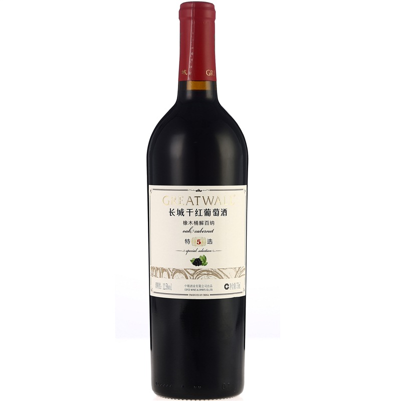 长城(GreatWall)红酒 特选5年橡木桶解百纳干红葡萄酒 整箱装 750ml*6瓶