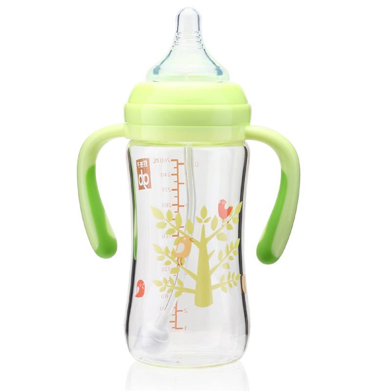 gb好孩子母乳實感寬口徑握把吸管玻璃奶瓶260ml(小樹系列)