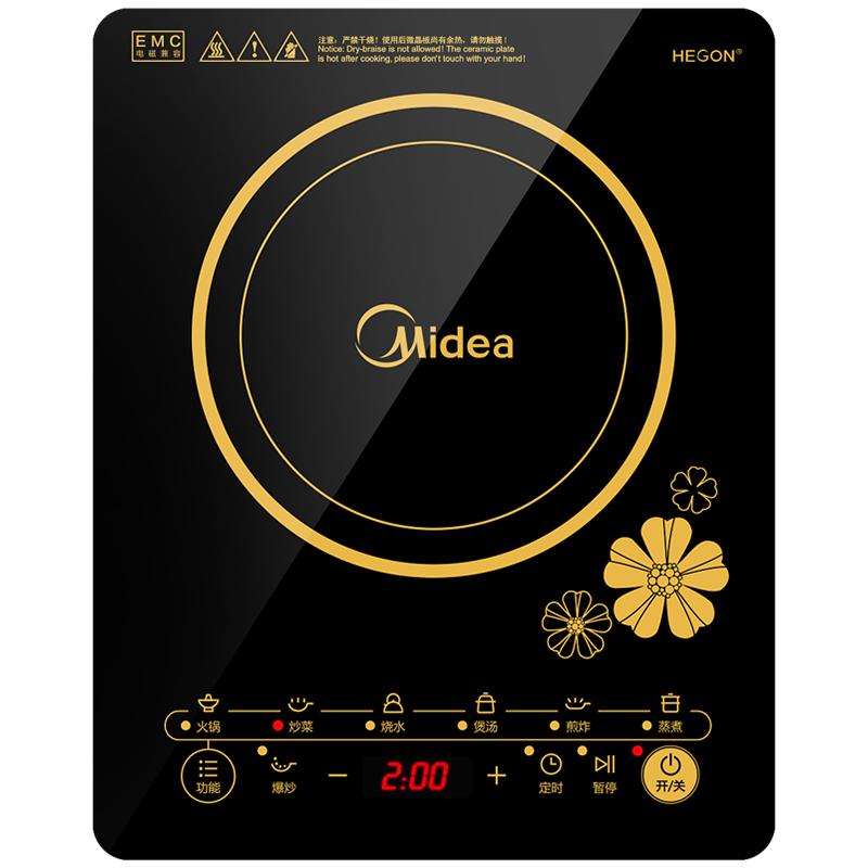 美的(Midea)电磁炉 触控按键 黑晶面板 七大烹饪功能 一键爆炒 定时功能 C21-RT2140(标配渗氮炒锅)
