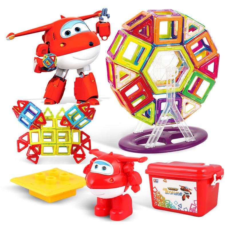 奥迪双钻(AULDEY) 134件套超级飞侠磁力片 益智积木玩具 百变立体拼插积木玩具【含乐迪玩偶】
