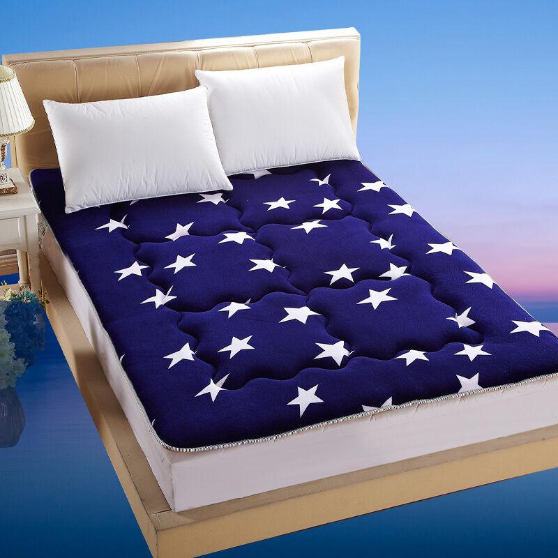 九洲鹿 双人防潮舒适加厚法莱绒床垫 榻榻米床垫 120*200cm 星语星空 床褥 床护垫 四季垫