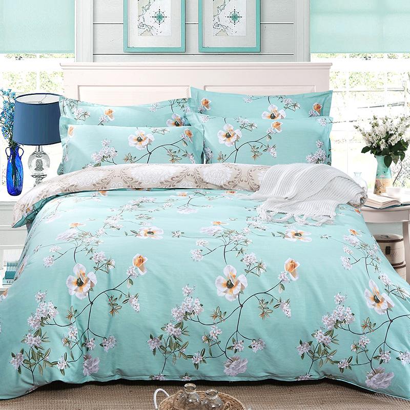 九洲鹿家纺 斜纹印花双人全棉被套 清馨花园 200x230cm 床被罩单件