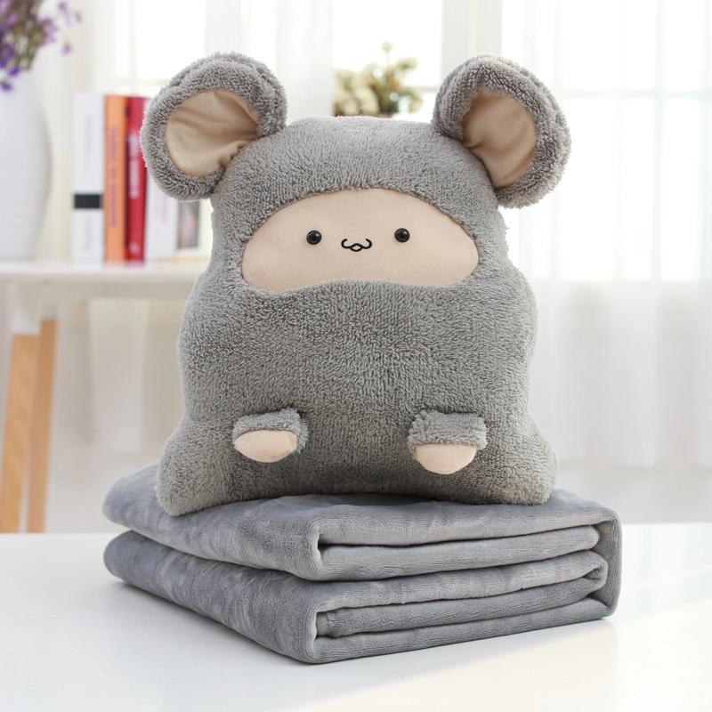 九洲鹿 抱枕毯家紡 卡通抱枕被 沙發床頭靠墊靠枕被子 午休枕頭 多功能空調毯夏被 卡卡鼠灰 95*85cm