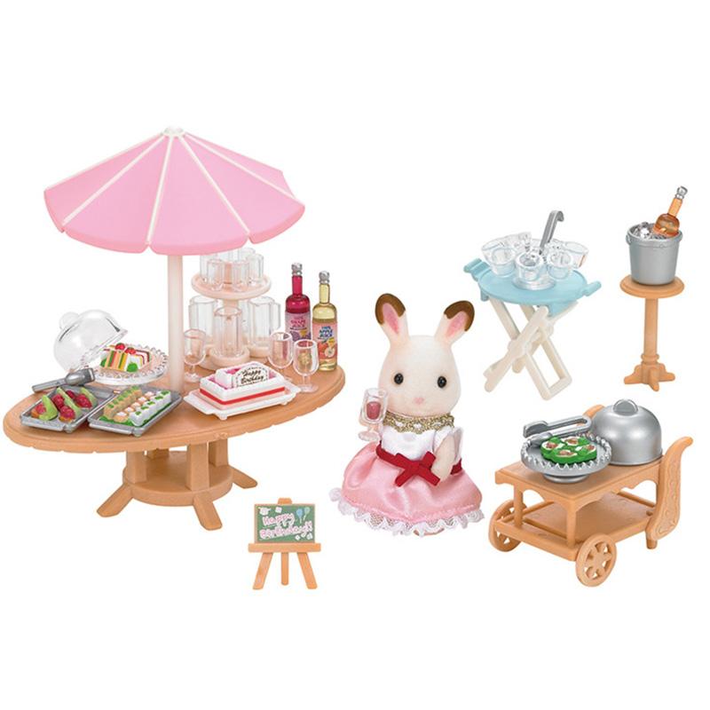 森贝儿家族日本品牌公主玩具女孩娃娃屋仿真森林家族过家家场景商店房子-生日宴会套SYFC52078