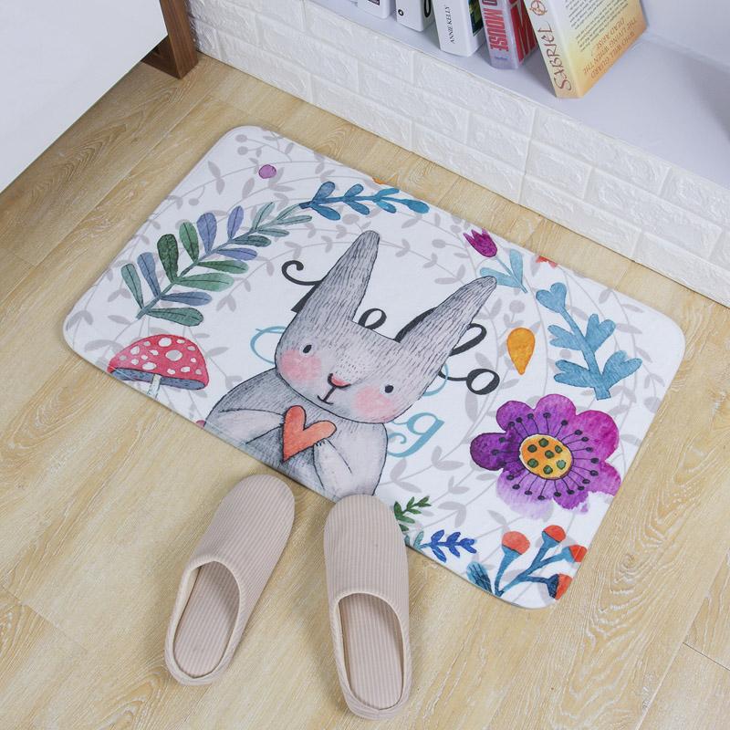 青苇 个性印染 地垫门垫 吸水防滑 浴室厨房脚垫 可爱兔 50*80cm