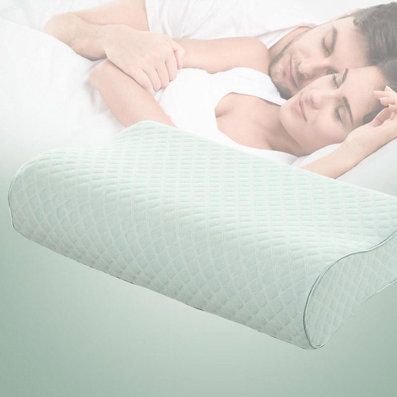 水星家纺 舒适透气慢回弹枕 枕头记忆棉枕芯 绿色 50*30*10/7cm
