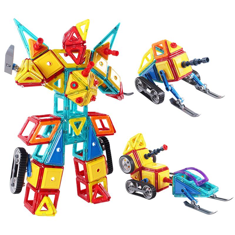 铭塔(MING TA)200件套磁力片 百变提拉建构片儿童积木玩具哒哒搭磁性益智智力 工程雪橇系列