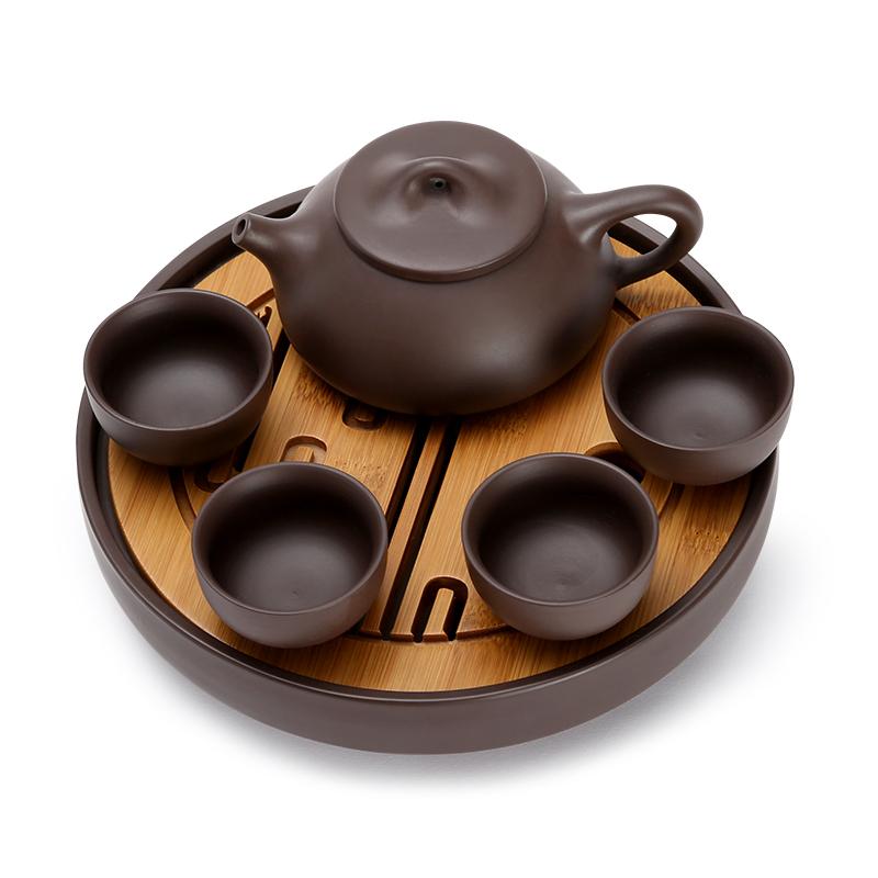 常生源 旅行功夫茶具套裝 紫砂茶盤 一茶壺四茶杯 辦公室 壯志凌云便攜紫砂茶具