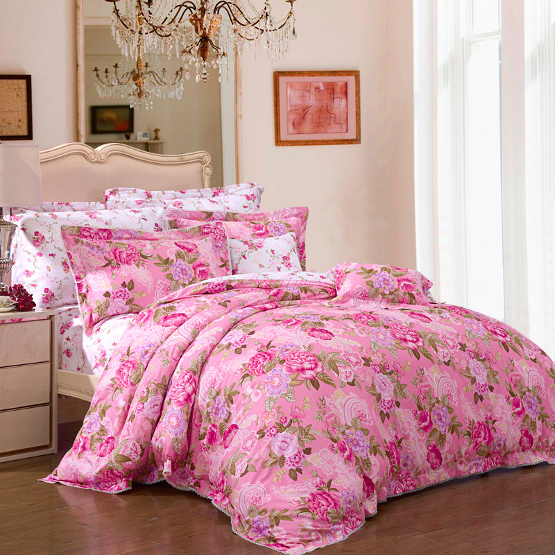 富安娜(FUANNA)家纺床品套件 纯棉60支高支高密贡缎印花四件套 床单被套 1.8米床踏莎美人