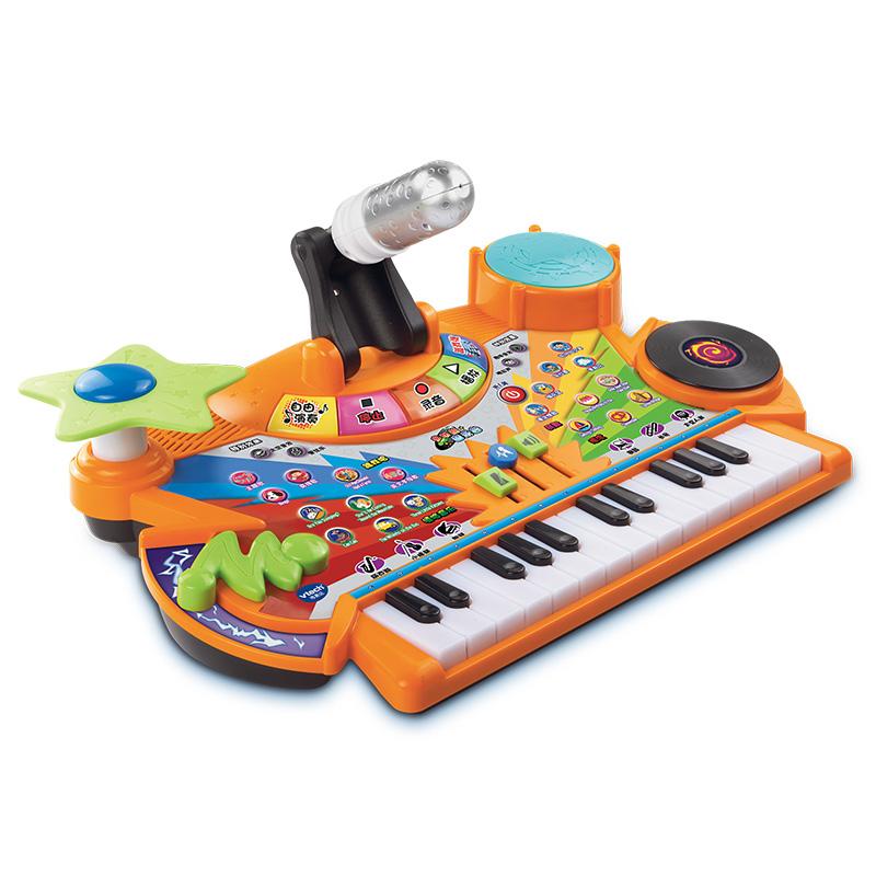 伟易达Vtech 多功能音乐台电?#24551;?#38899;乐玩具 早教益智学?#30333;?#24102;麦克风