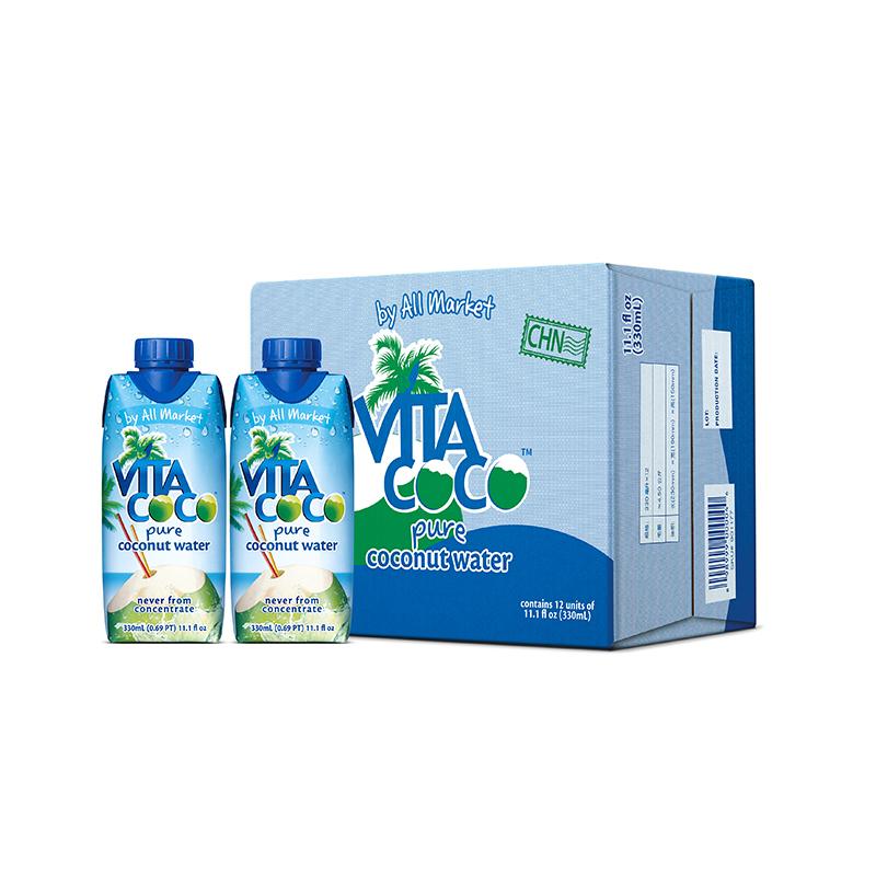 唯他可可(Vita Coco)天然椰子水进口NFC果汁饮料330ml*12瓶 整箱