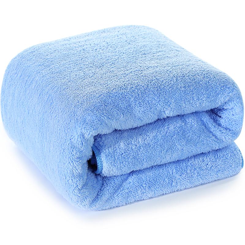 三利 高梳紗柔軟舒適超大加厚浴巾 80×180cm 男女同款 不易掉毛強吸水裹身巾 天藍色