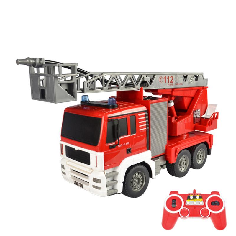 DOUBLE E 双鹰消防遥控车 喷水消防车充电大号云梯救火工程车 儿童玩具车