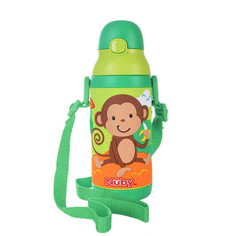 努比(Nuby)兒童吸管杯 寶寶水杯嬰兒保溫學飲杯385ml握把兒童保溫壺(3D猴子 附背帶)