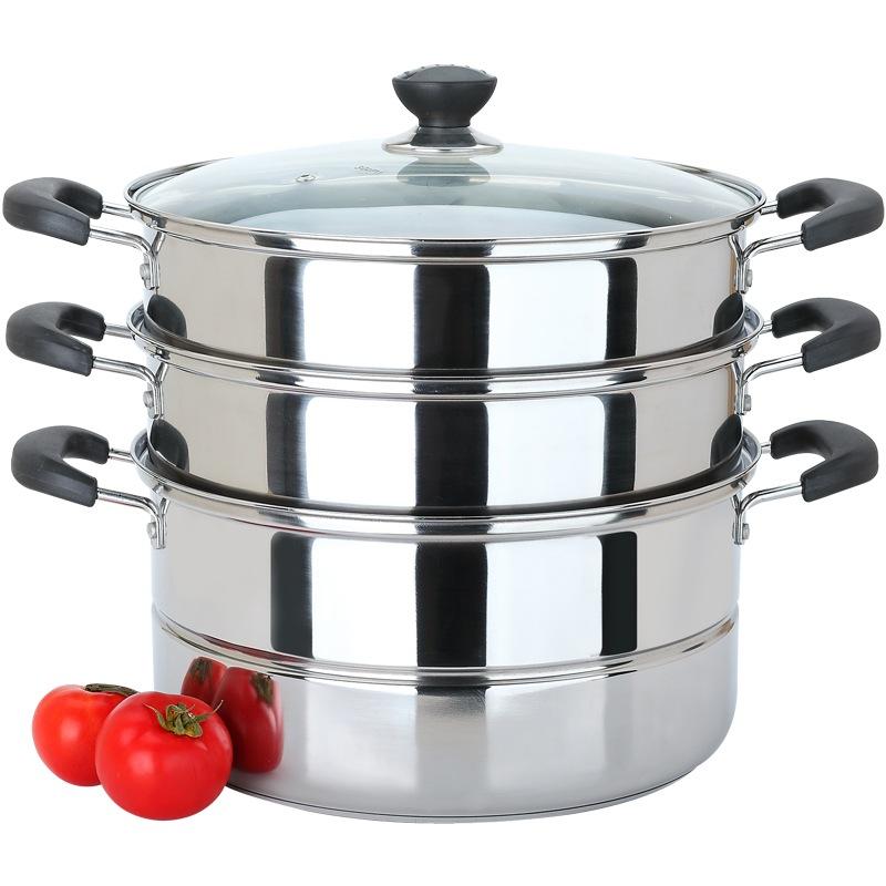 美廚(maxcook)三層蒸鍋30CM MZB-30不銹鋼復底 (可蒸可煮 可用電磁爐 適合2-8人使用)