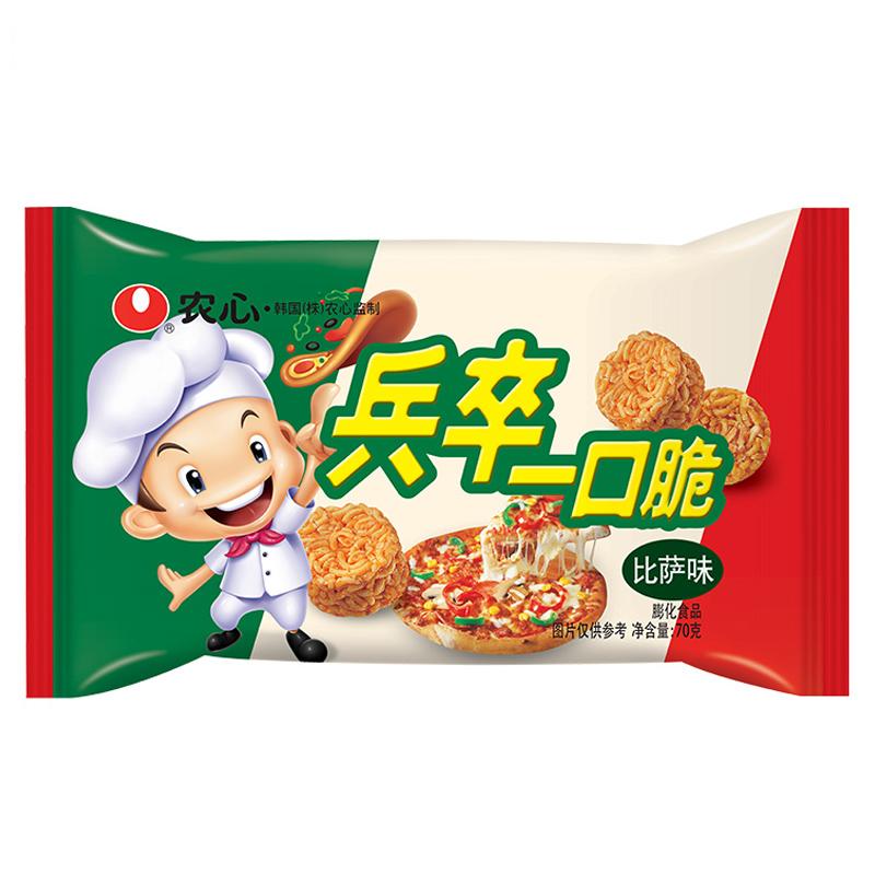 農心 NONG SHIM 比薩味方便面 兵卒一口脆 袋裝 膨化食品 休閑零食70g 拉面丸子