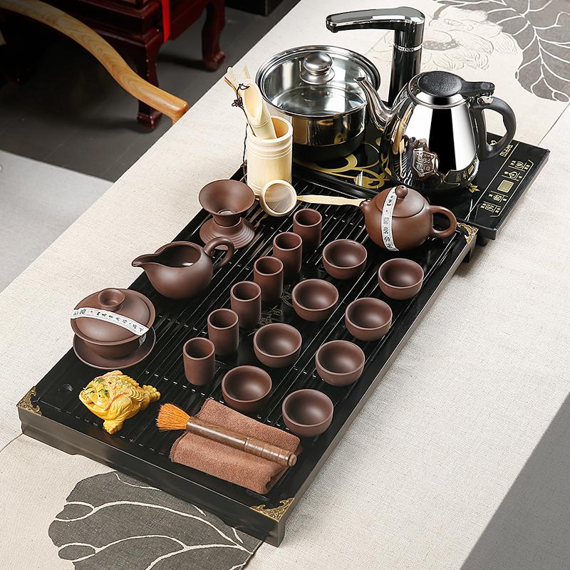 金镶玉 功夫茶具套装 幽雅紫砂 柯木实木茶盘茶具茶壶茶杯泡茶炉整套