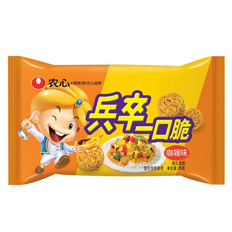 农心 NONG SHIM 咖喱味方便面 兵卒一口脆 袋装 膨化食品 休闲零食70g 拉面丸子