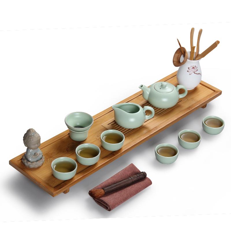 常生源 功夫茶具套裝 日式干泡茶盤 原礦汝窯開片茶壺茶杯陶瓷茶漏 日式干泡汝窯怡然套裝