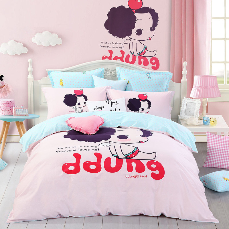 水星家纺(MERCURY) 床上用品四件套纯棉 全棉斜纹印花被套床单 冬己的苹果 加大双人1.8米床