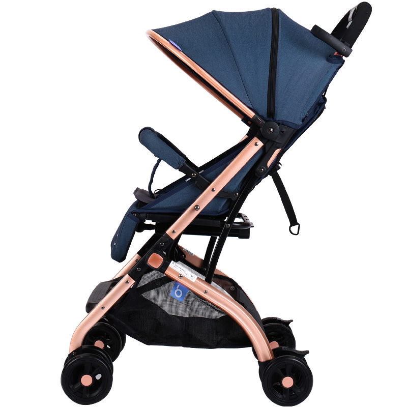 宝宝好婴儿推车高景观可坐可躺轻便折叠伞车儿童避震拉杆式手推车婴儿车牛仔蓝