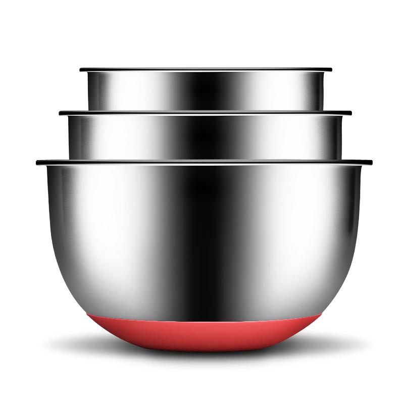 炊大皇304不锈钢沙拉盆三件套加厚味斗硅胶垫防滑洗菜和面调料腌肉盆三个装
