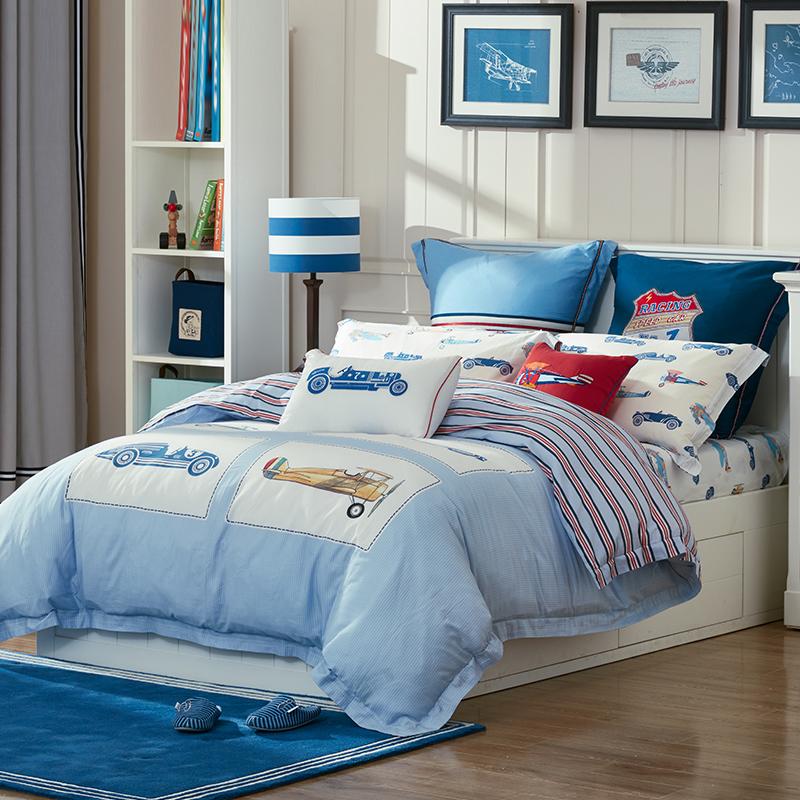 LUOLAI罗莱家纺 205纱支纯棉四件套 儿童全棉床上用品床品套件床单被罩 小汽车 200*230