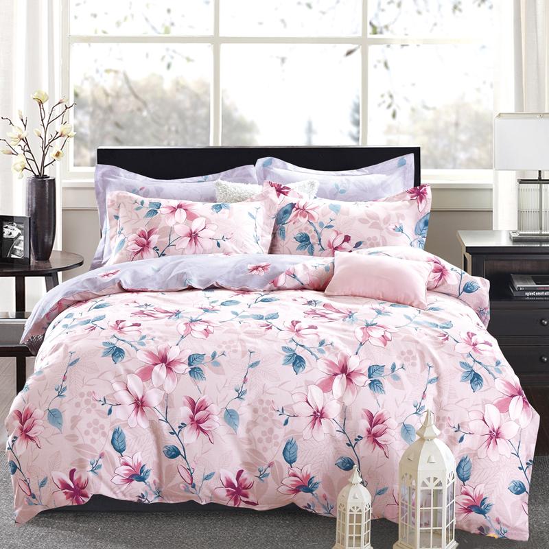 浪莎 床品家纺 四件套纯棉全棉斜纹印花婚庆套件床单被罩枕套床上用品 美人鱼 1.5-1.8米床通用/被套200*230cm